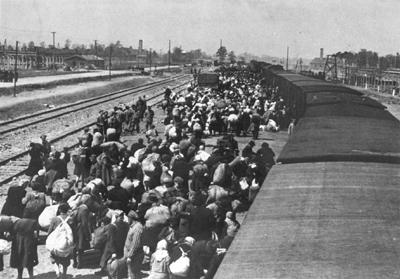 Exiting Boxcars at Auschwitz-Birkenau