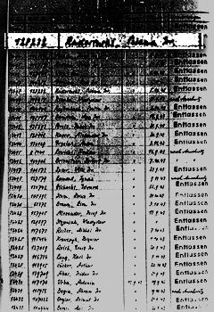 Auschwitz Record of Buna Quarantine